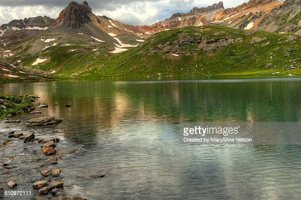 ice lake in the summer - mary lake stock photos and pictures