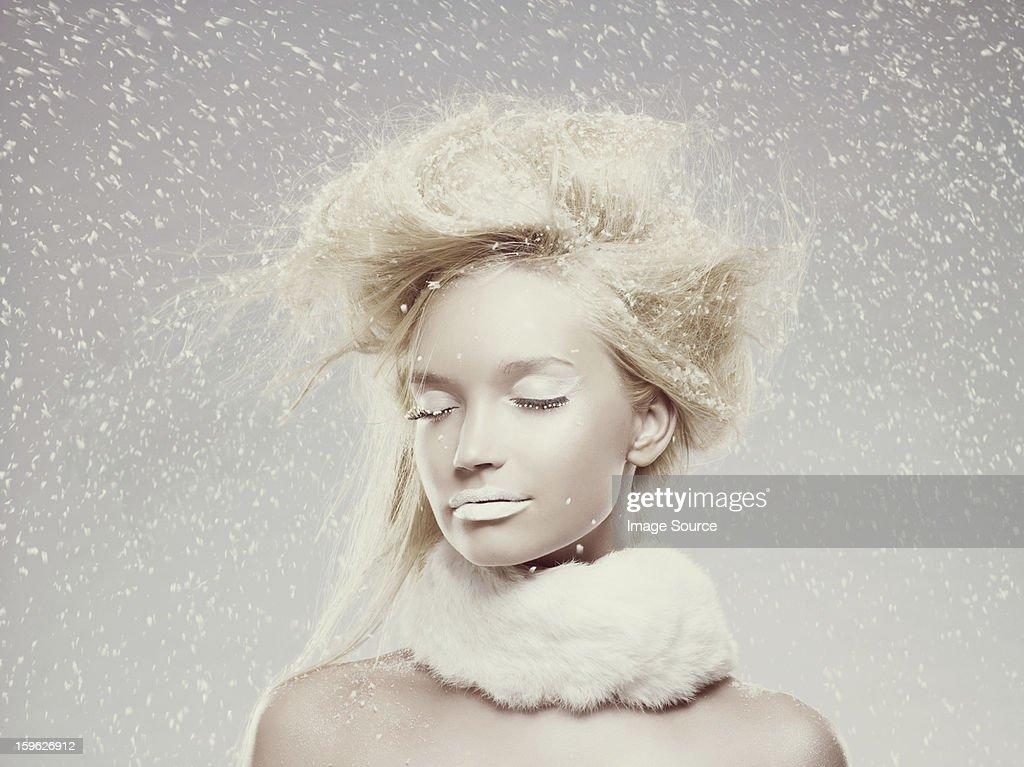 Ice maiden in snow : Stock Photo