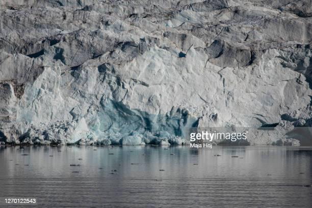 Ice melts near Nordenskjodbreen glacier on August 25, 2020 on the Norwegian Arctic Svalbard archipelago, Norway. Nordenskiöldbreen is a glacier in...