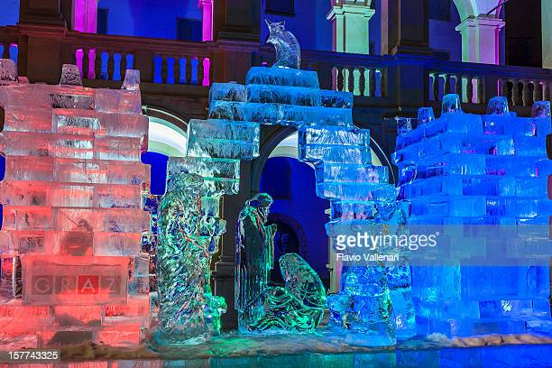 ice nativity scene, graz - graz stock photos and pictures