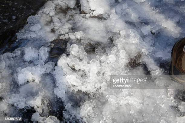 Ice on the ground of Daimond Beach pictured on March 30 2019 in Joekulsarlon Iceland