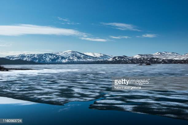 ice on the lake - seascape stock pictures, royalty-free photos & images