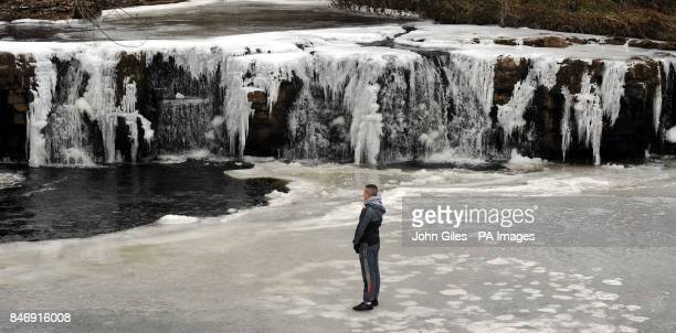 Ice partially covers the River Swale near Reeth as forecasters warn of severe weather over the weekend PRESS ASSOCIATION Photo Picture date Saturday...