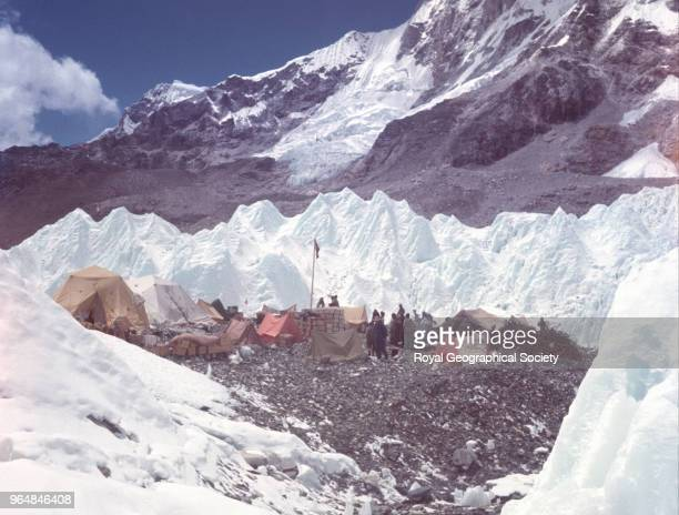 Ice pinnacles surrounding Base Camp Nepal March 1953 Mount Everest Expedition 1953
