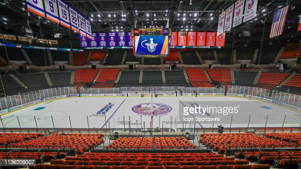 Ice preparations were finalized just prior to game 1 of the First Round of the Stanley Cup Playoffs between the New York Islanders and Pittsburgh...