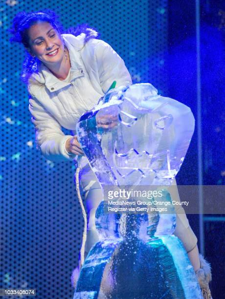 Ice Princess Ashley carves a 300lb block of ice into a Frozen character INFORMATION DisneyFrozenOpen Ð 1/5/15 Ð LEONARD ORTIZ ORANGE COUNTY...