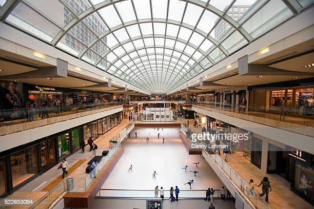 ice rink in the galleria - shopping mall stock pictures, royalty-free photos & images