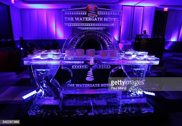 Ice sculpture at the grand reopening party of the iconic Watergate Hotel on June 14 2016 in Washington DC