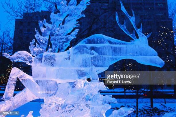 Ice Sculpture of Deer
