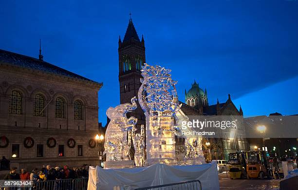 Ice sculpture 'Unity 2013' by sculpture Eric Fontecchio in Copley Square Boston MA on January 1 2013 The sculpture created for 'First Night Boston'...