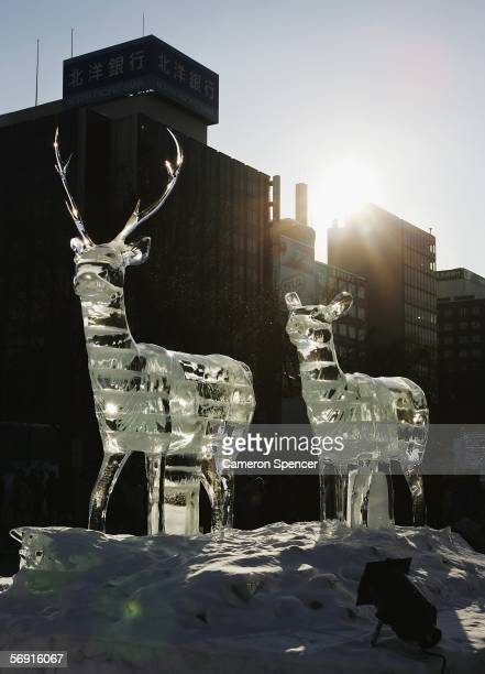 Ice Sculptures are displayed at Odori Koen during the 57th Sapporo Snow Festival February 12 2006 in Sapporo Hokkaido Japan Two million people are...