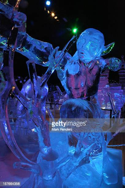 Ice Sculptures are displayed at the Snow and Ice Sculpture Festival on December 5 2012 in Brugge Belgium