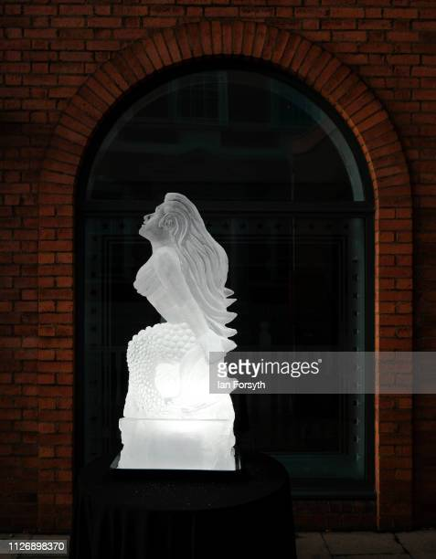Ice sculptures celebrating the theme myths and legends form the biggest outdoor ice trail in the UK on February 02 2019 in York England The fifty...