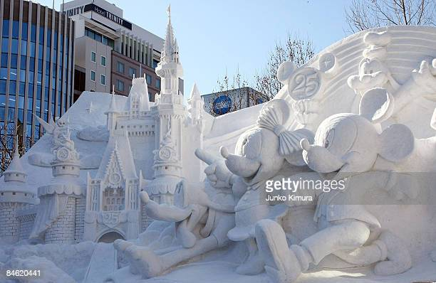 Ice sculptures od Disney characters are displayed ahead of the opening of the 60th Sapporo Snow Festival at Odori Park on February 4 2009 in Sapporo...