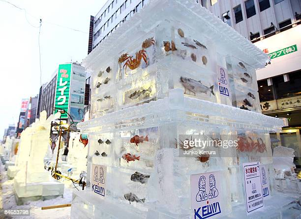 Ice sculptures with real fish frozen inside are seen on display during the 60th Sapporo Snow Festival on February 5 2009 in Sapporo Japan The 60th...