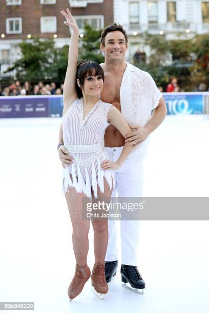 Ice skater Ale Izquierdo and rugby player Max Evans pose during the Dancing On Ice 2018 photocall held at Natural History Museum Ice Rink on December...