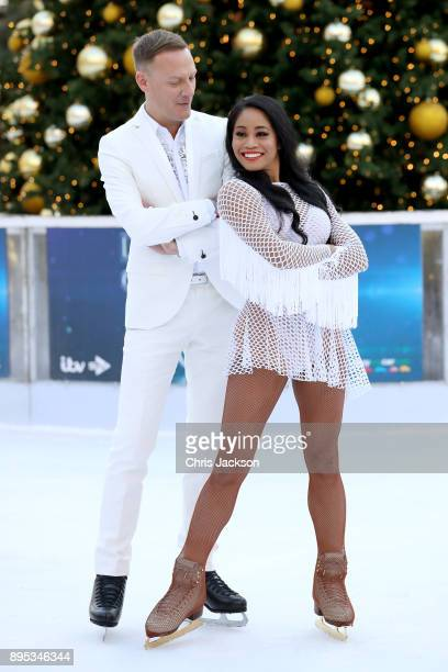 Ice skater Brandee Malto and Antony Cotton pose during the Dancing On Ice 2018 photocall held at Natural History Museum Ice Rink on December 19 2017...