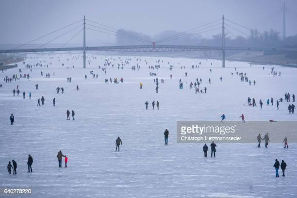 Ice Skater on frozen danube river