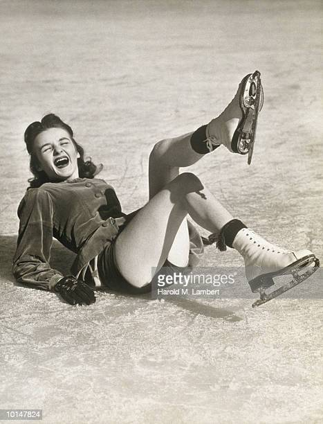 ICE SKATER ON ICE LAUGHING, 1942