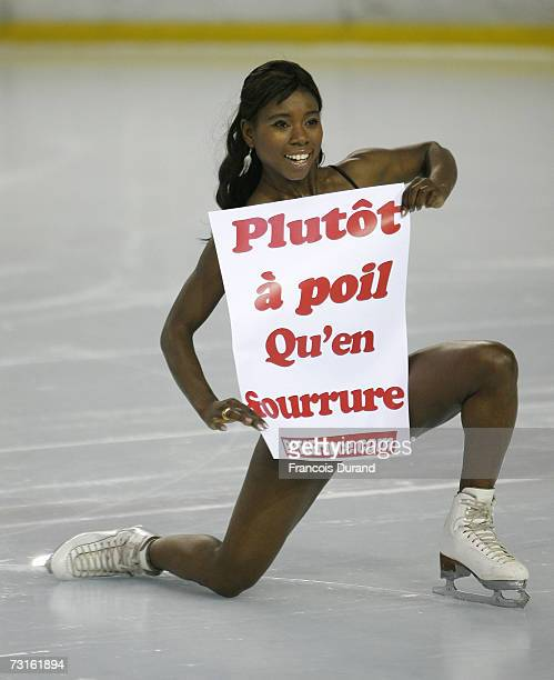 Ice Skater Surya Bonali performs For PETA to denounce the massacre of baby seals in the Canadian Far North on the skating rink of AsnieressurSeine on...