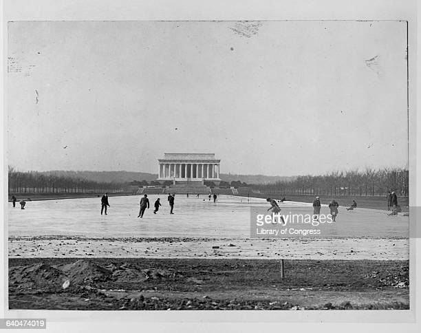 Ice skaters enjoy the Reflecting Pool outside the Lincoln Memorial
