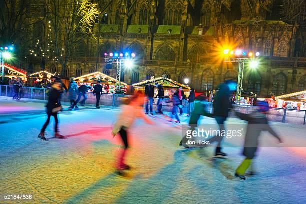 Ice skaters in Strasbourg Christmas Market