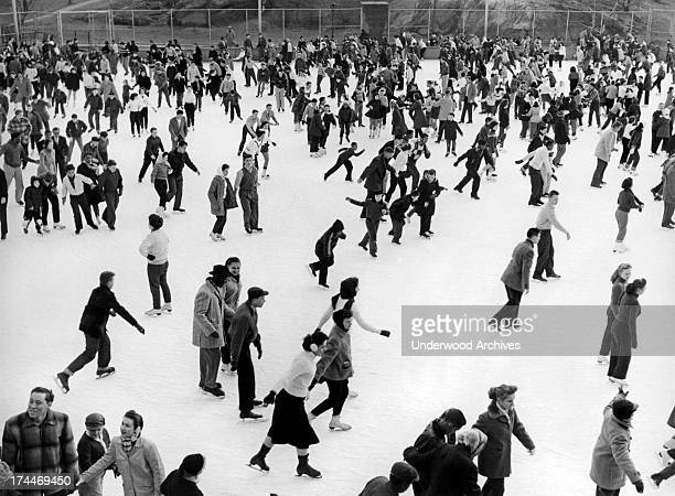 Ice skaters throng to the Park for skating fun on a winter's day at Wollman Rink in Manhattan's Central Park New York February 1957