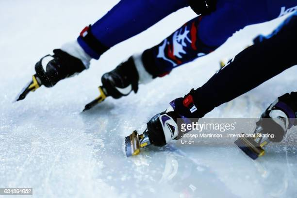 Ice skates detail in the Ladies 500m quarter final during day two of the ISU World Cup Short Track at Minsk Arena on February 12 2017 in Minsk Belarus