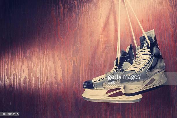ice skates - hockey skates stock photos and pictures