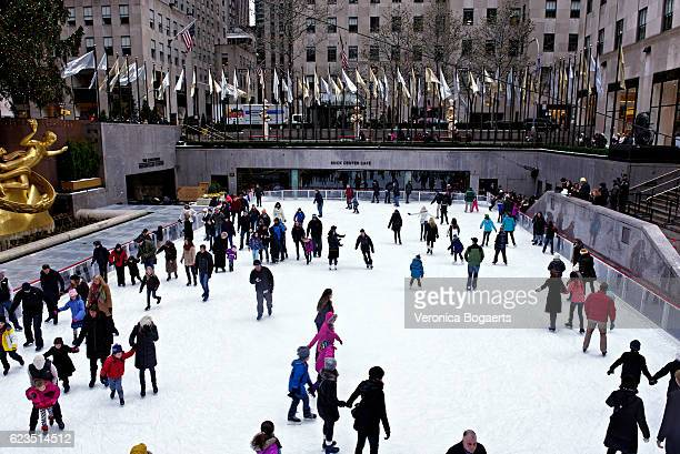 Ice skating at ice rink ,Rockefeller Center , New York City