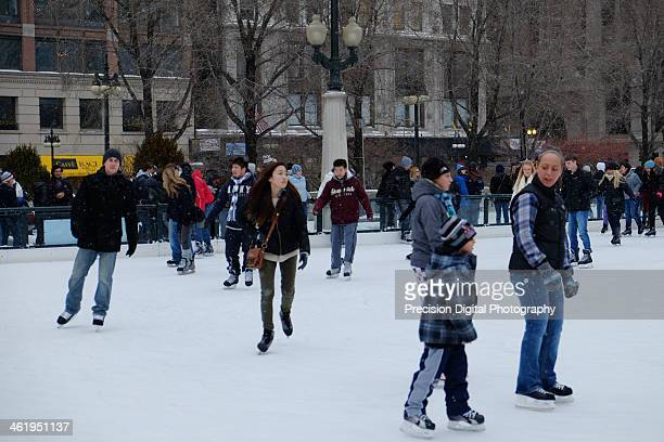 CONTENT] Ice skating at the Millennium Park ice rink in Chicago