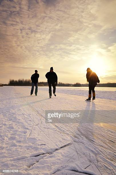 Ice skating in a sunset