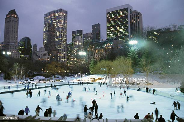 Ice skating in central park by night