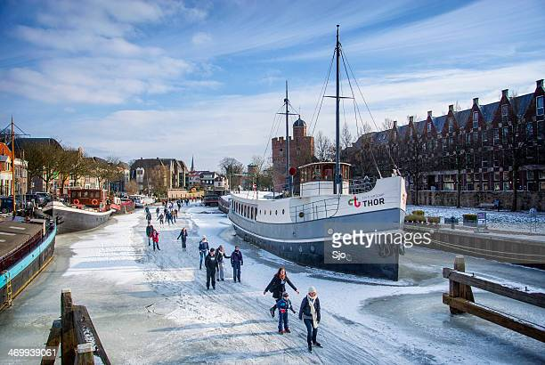 ice skating in holland - zwolle stock photos and pictures