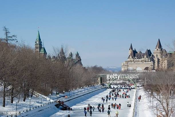 ice skating on the rideau canal - ottawa stock pictures, royalty-free photos & images