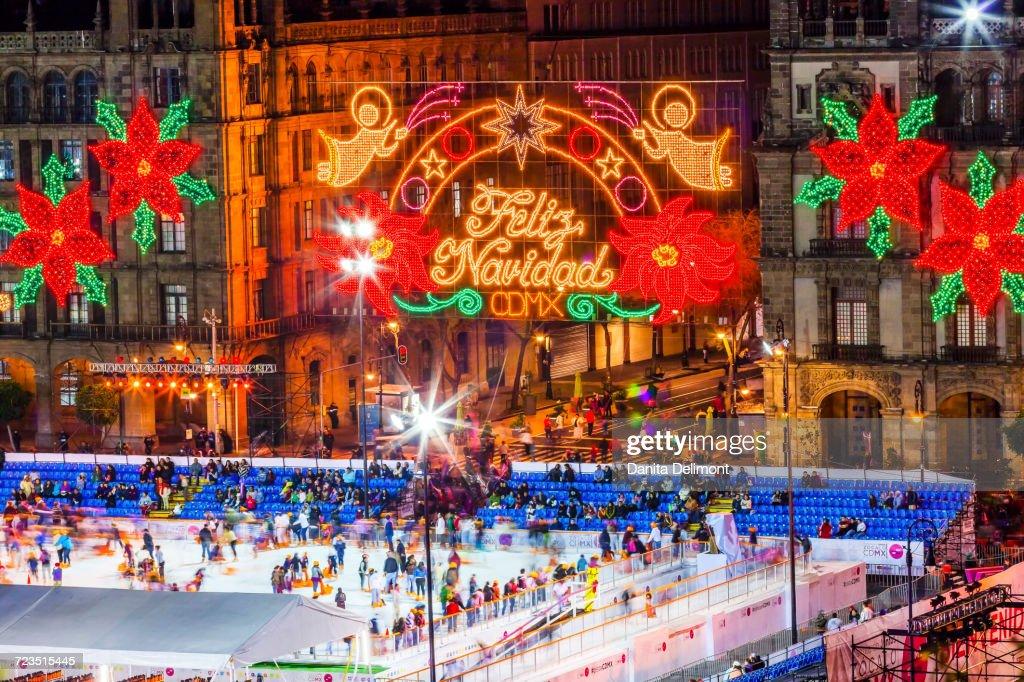 Christmas Ice Skating Rink Decoration.Ice Skating Rink And Christmas Decorations Mexico City