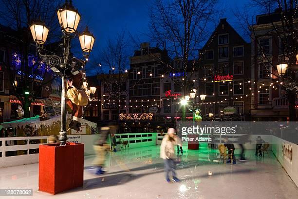 Ice skating rink during the Christmas season, Amsterdam, Netherlands