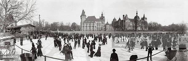 Ice skating rink in the background the Szechenyi-island with the agricultural museum. Hungary. Photography by Rudolf Balogh. 1913. [Der grosse Teich...