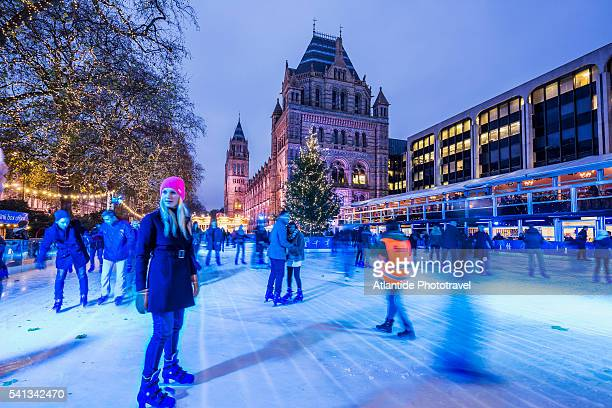 ice skating rink near the natural history museum (on the background) during the christmas period - ice rink stock pictures, royalty-free photos & images