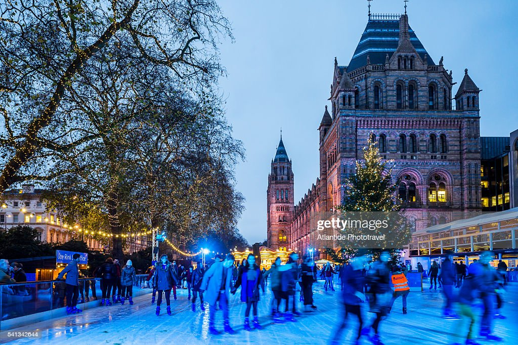Ice skating rink near the Natural History Museum (on the background) during the Christmas period : Stock Photo