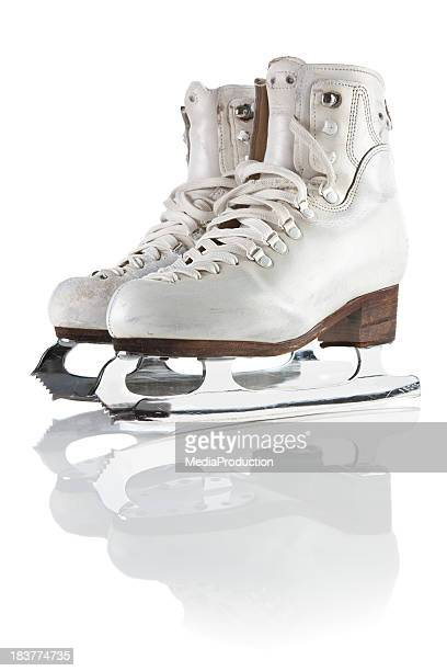 ice skating shoes and blades  with clipping path - ice skate stock pictures, royalty-free photos & images