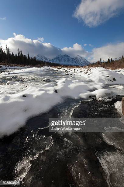 ice, snow and water at freezing quill creek, st. elias mountains, kluane range behind, kluane national park and reserve, yukon territory, canada - nature reserve stock pictures, royalty-free photos & images