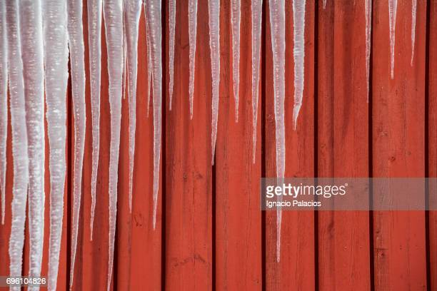 Ice spikes and red hut