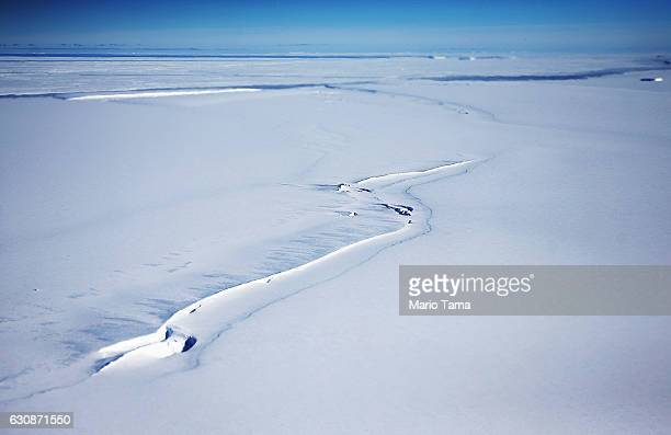 Ice stands near the coast of West Antarctica as viewed from a window of a NASA Operation IceBridge airplane on October 31 2016 inflight over...