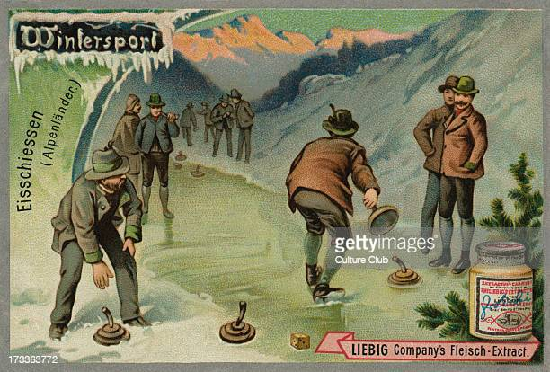 Ice stock sport/Bavarian Curling/ eisschiessen in the Alps A game similar to curling Liebig card Winter Sports 1896