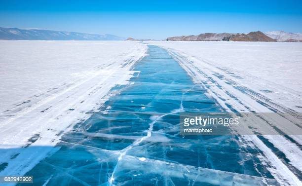 Ice surface of Baikal lake