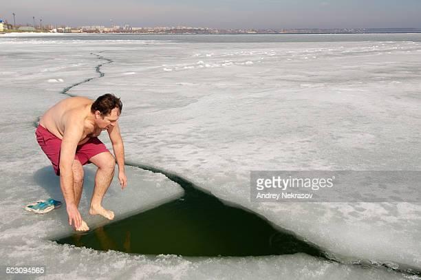 Ice swimming in the frozen Black Sea, a rare phenomenon which last occured in 1977, Odessa, Ukraine, Eastern Europe