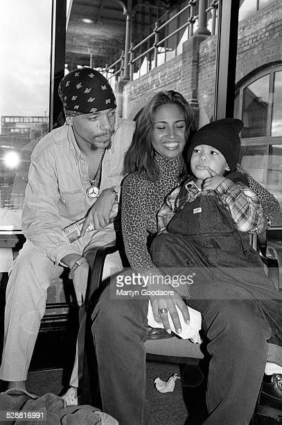 Ice T poses with Darlene Ortiz and son Ice Tracy Marrow London United Kingdom 1993