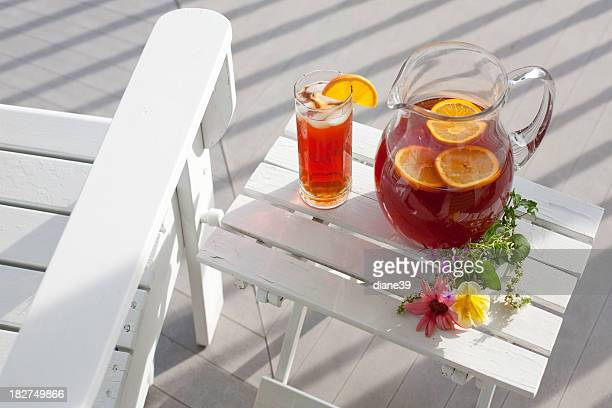 ice tea pitcher and glass