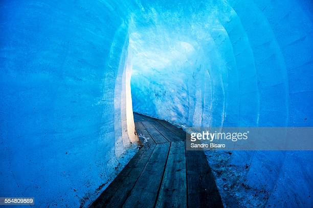 Ice Tunnel Inside the Rhone Glacier in Valais